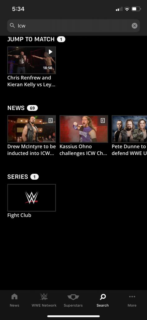 WWE Network Has Loads Of Bugs - Unattainable ICW Match